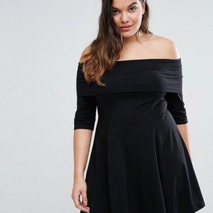 ASOS Curve Quarter Sleeve Mini Bardot Dress